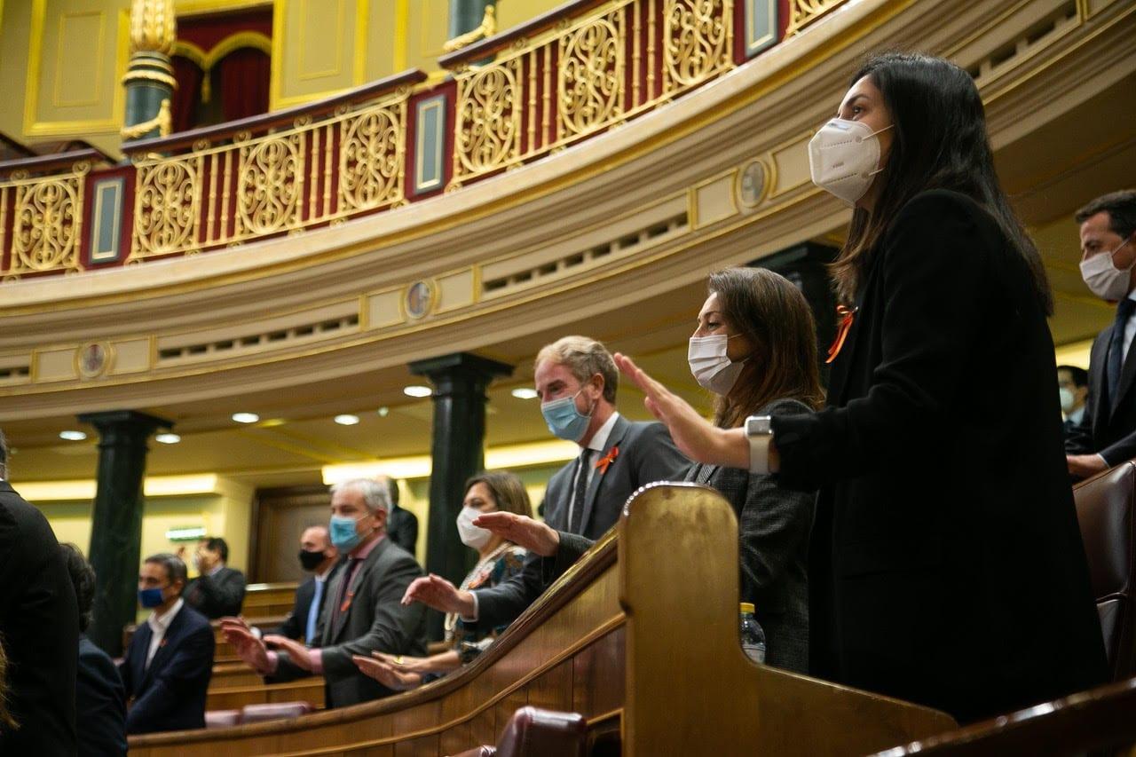 Protesta de la oposición en el Congreso contra la Ley Celaá.