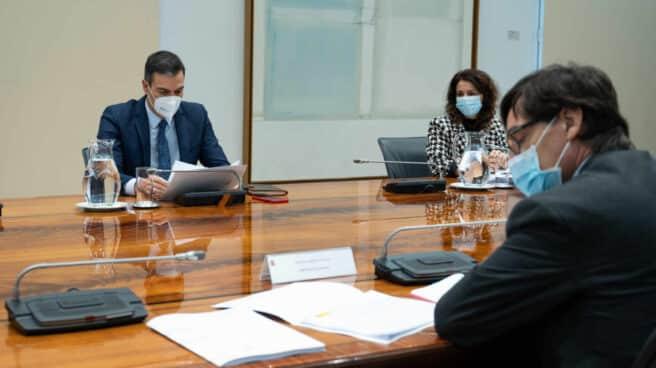 Pedro Sánchez, presidente del Gobierno, en una reunión en La Moncloa.