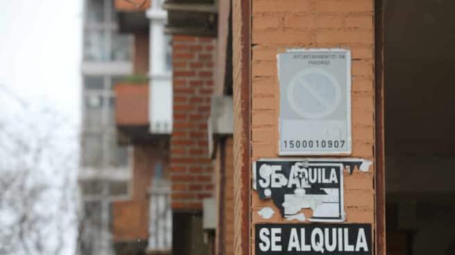 Varios carteles de 'Se Alquila' en la pared de un edificio