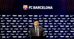 Josep Maria Bartomeu, durante la rueda de prensa en la que dimitió como presidente del FC Barcelona.