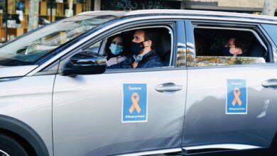 Casado, Ayuso y Almeida comparten coche en la manifestación contra la Ley Celaá