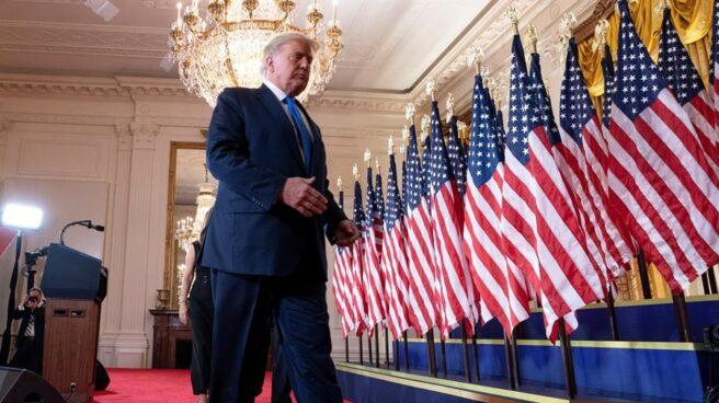 Donald Trump, durante la noche electoral.