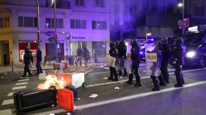 La Policía actúa en la Gran Vïa de Madrid.