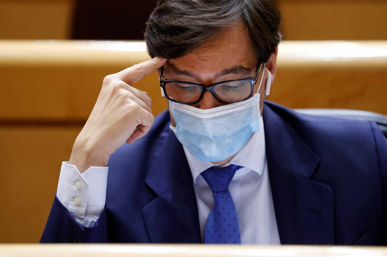 El ministro de Sanidad, Salvador Illa, durante un pleno del Senado.
