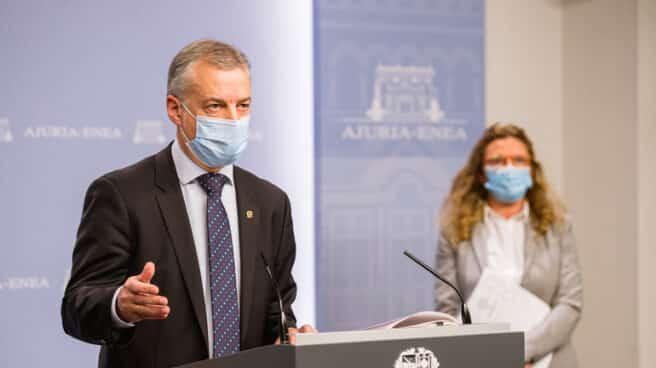 El lehendakari Iñigo Urkullu durante su comparecencia para dar a conocer las medidas.