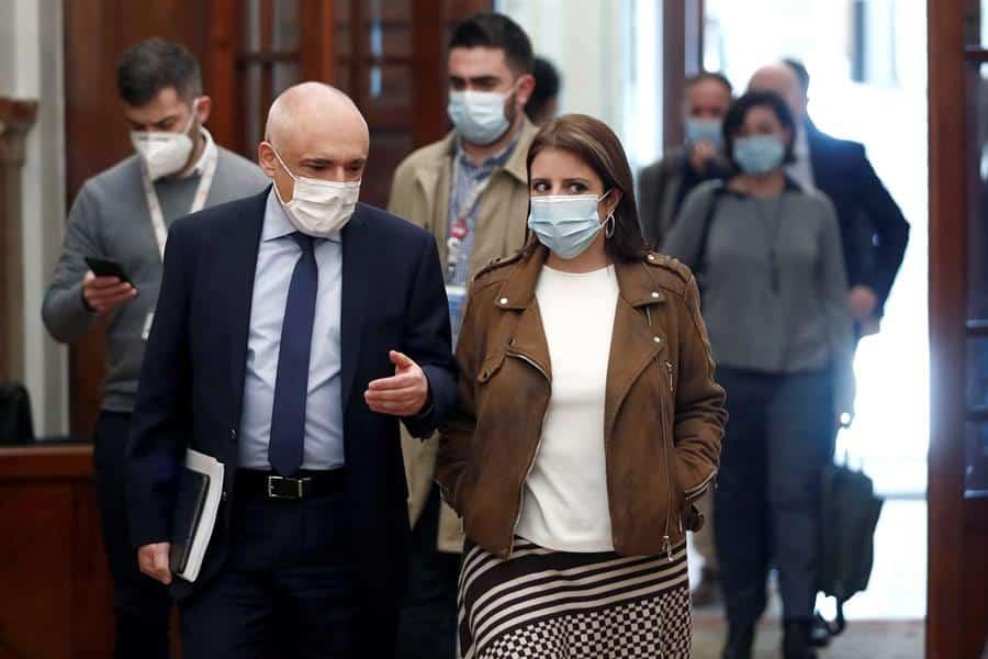 Rafael Simancas y Adriana Lastra, en el Congreso de los Diputados.