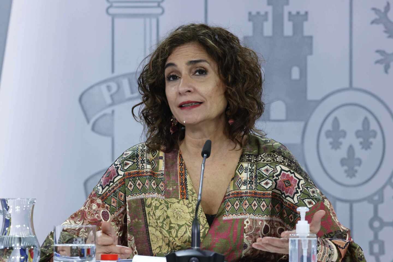 María Jesús Montero, ministra Portavoz y de Hacienda, en la rueda de prensa posterior al Consejo de Ministros.