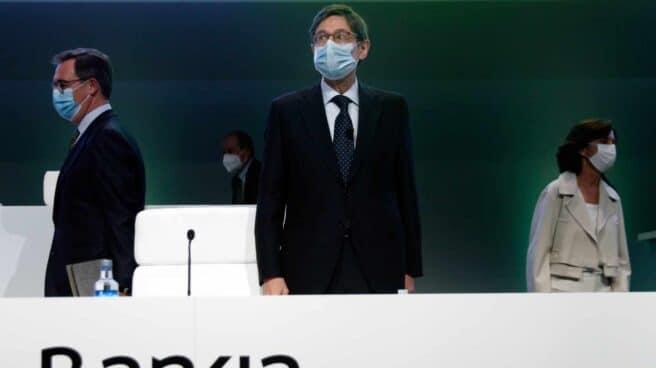 José Ignacio Goirigolzarri, presidente de Bankia, en la junta de accionistas que aprobará la fusión con CaixaBank.