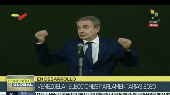 El expresidente del Gobierno, José Luis Rodríguez Zapatero, en una intervención en 'Telesur' para hablar de las elecciones venezolanas.