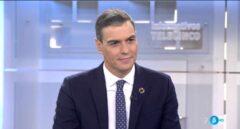 El presidente del Gobierno, Pedro Sánchez, entrevistado en Informativos Telecinco.