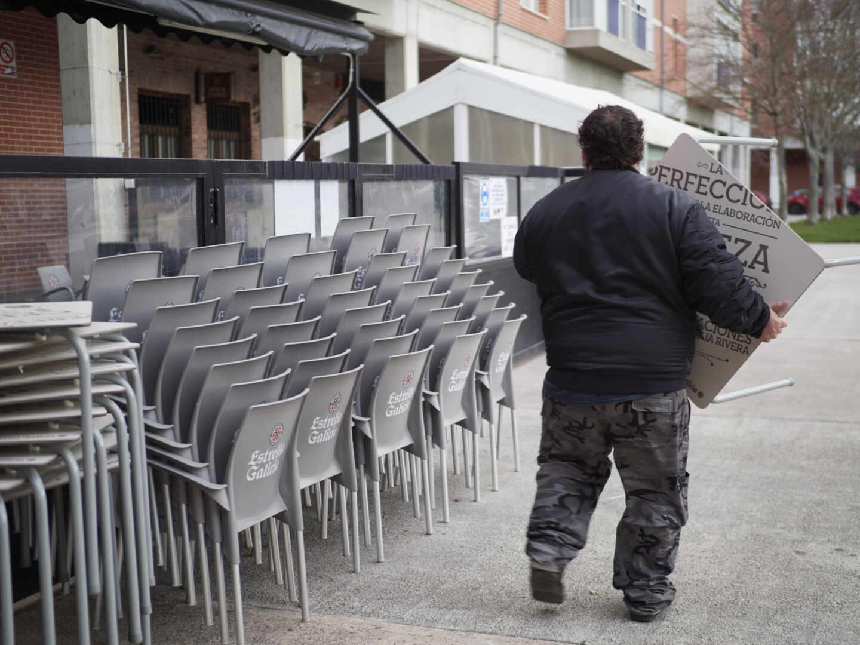 Reapertura de una terraza en Pamplona (Navarra).