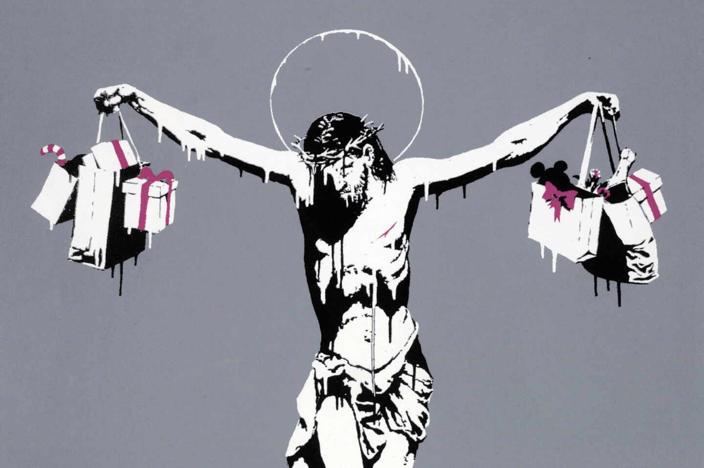 Jesucristo con bolsas de la compra Banksy