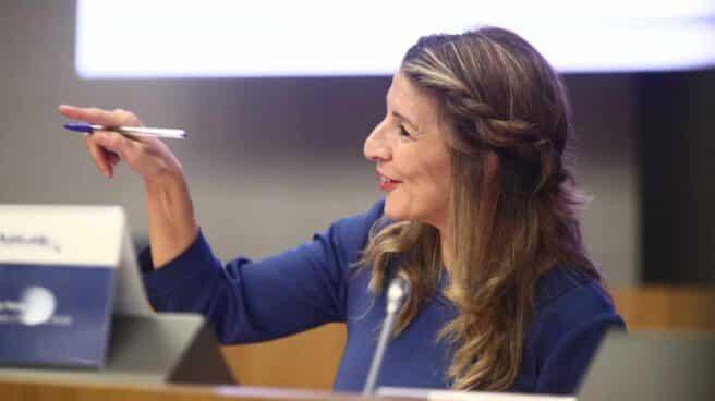 La ministra Yolanda Díaz, en la inauguración de unas jornadas sobre formación profesional para el empleo.