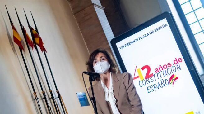 La vicepresidenta del Gobierno, Carmen Calvo, este lunes en Sevilla.