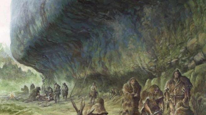 Reconstrucción del entierro del niño por los neandertales en La Ferrassie