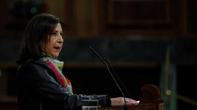 La ministra de Defensa, Margarita Robles, durante su intervención en el debate del proyecto de Presupuestos.