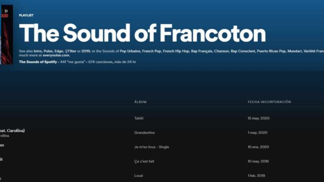 Cabecera de la lista de Spotify: 'The Sound of Francoton'