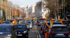 Manifestación en coches por el centro de Madrid contra la Ley Celaá.