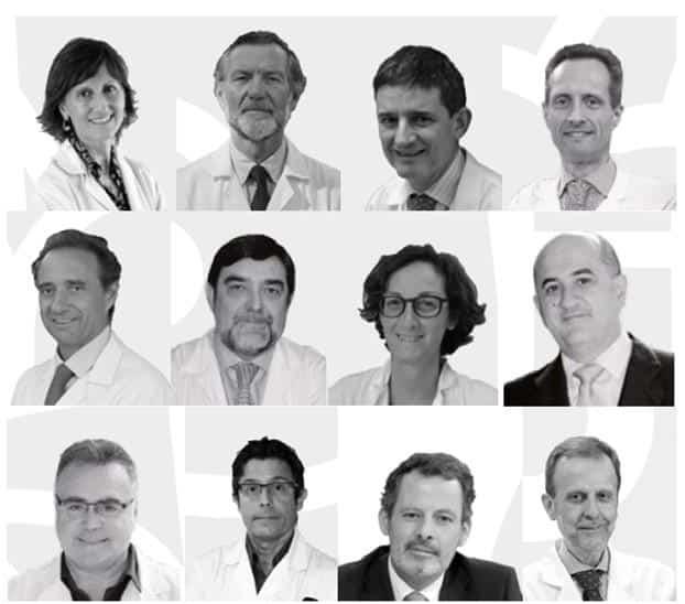 De izquierda a derecha: Dra. Llamas, Dr. Arroyo, Dr. Echave-Sustaeta, Dr. García-Foncillas, Dr. Arroyo, Dr. Argente, Dra. Martín, Dr. De la Calle, Dr. Vieta, Dr. Álvarez-Linera, Dr. Cabrera y Dr. Gamboa