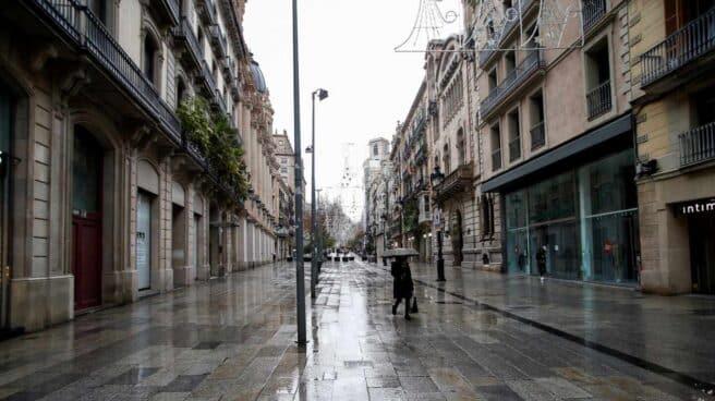 Aspecto de la céntrica calle comercial del Portal del Ángel, en Barcelona.