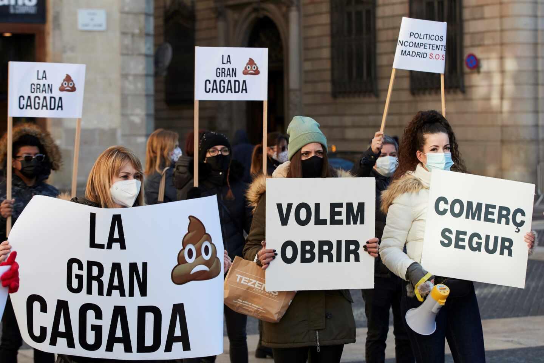 Protesta del sector de la restauración y comercio en Barcelona.