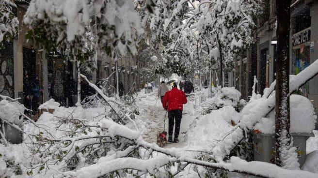 Nieve en la calle Fuencarral de Madrid.