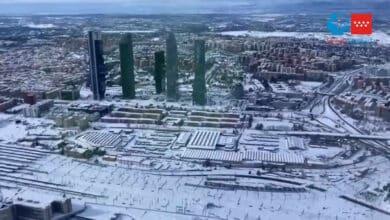 El Madrid nevado, a vista de helicóptero