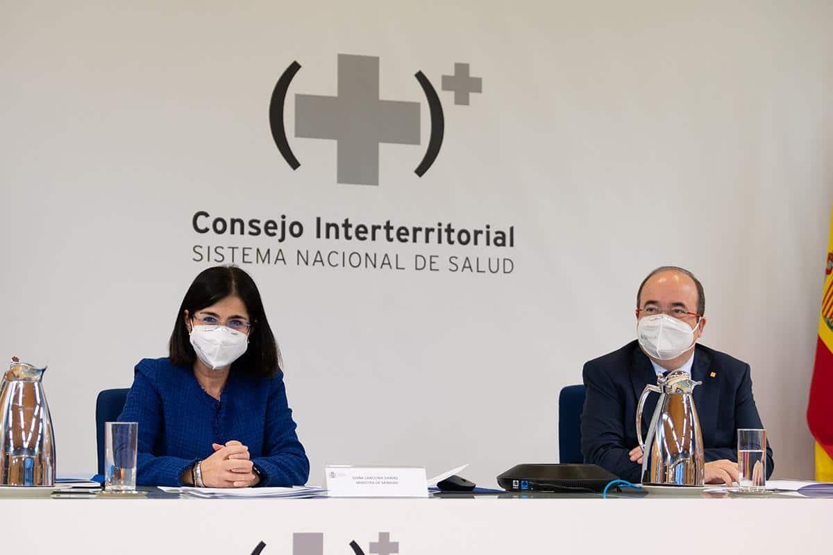 Carolina Darias y Miquel Iceta, en el Consejo Interterritorial de Salud.