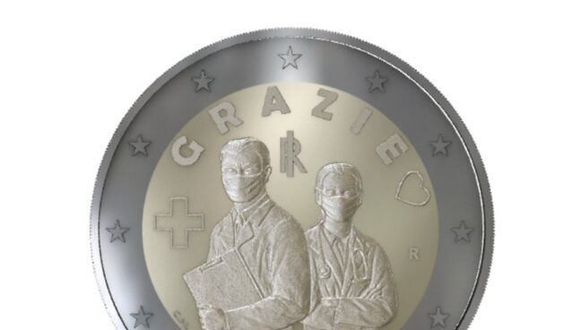 La moneda de dos euros que circulará en Italia para dar gracias a los sanitarios.