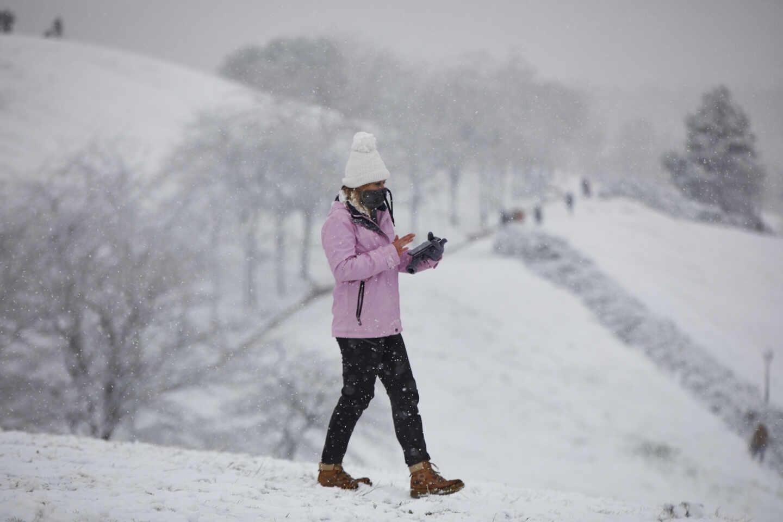 Nieve en la capital tras el paso de la borrasca Filomena
