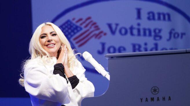 Lady Gaga, en un mitin de Biden.