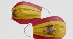 Mascarilla con la bandera de España.