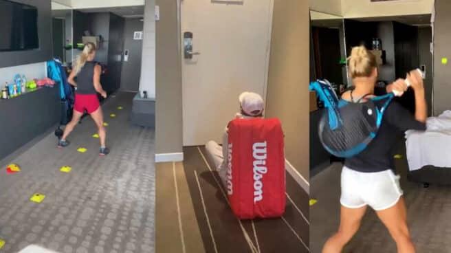 Yulia Putintseva, entrenando como puede en la habitación de hotel