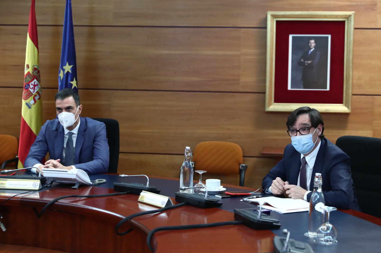 Pedro Sánchez y Salvador Illa, en el Comité de Seguimiento del Coronavirus.
