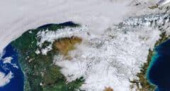 imagen de satélite La huella de Filomena en la península.