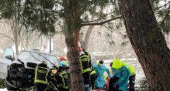 Un accidente por la nieve deja un herido grave con traumatismo craneoencefálico en Madrid