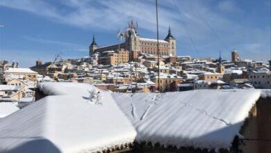 VÍDEO | La espectacular vista de pájaro del Alcázar de Toledo teñido de blanco tras Filomena