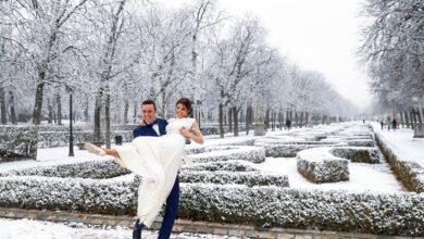 Inolvidable: boda bajo la nieve en el Parque del Retiro