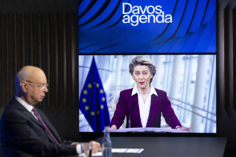 Ursula von der Leyen, durante su intervención online en Davos