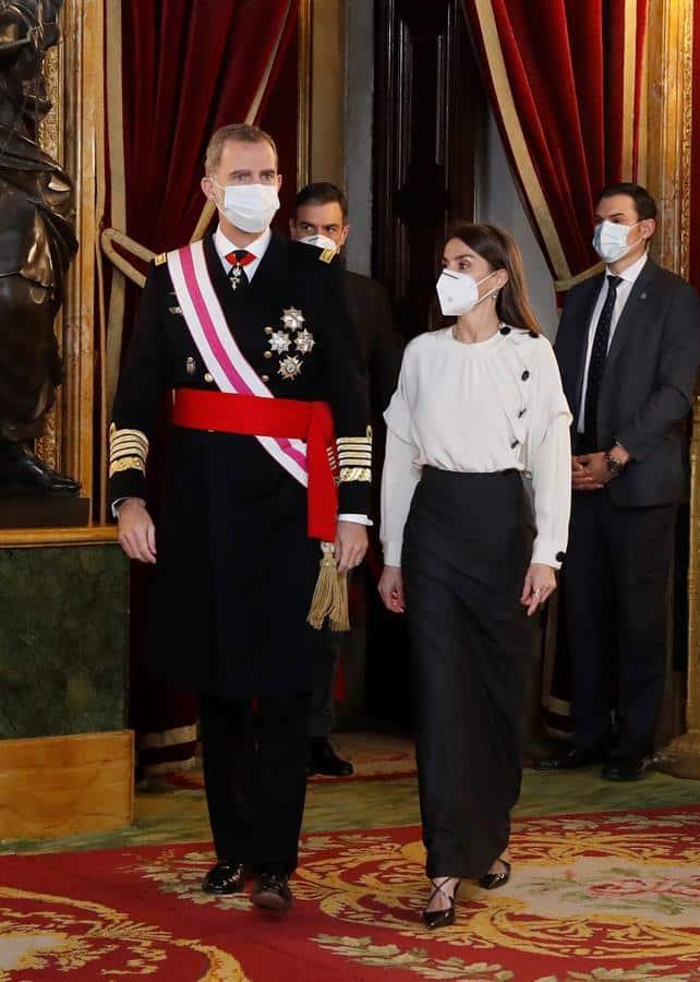 Los reyes, en el Palacio Real de Madrid durante la Pascua Militar.