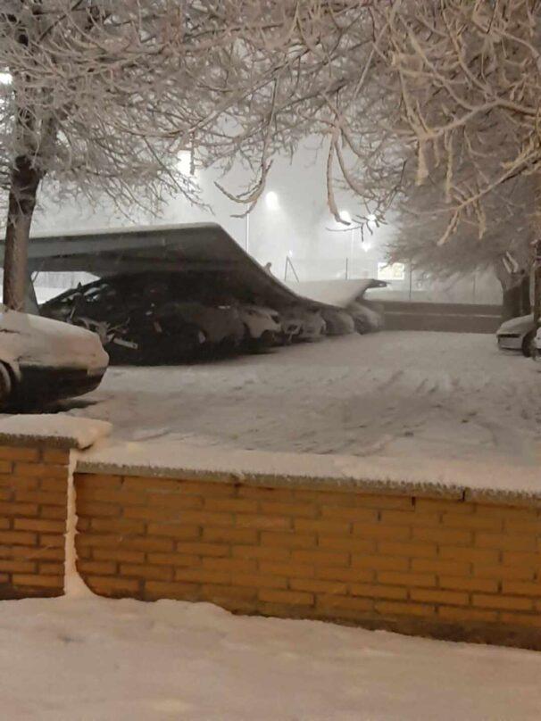 Instalaciones de la Guardia Civil de Valdemoro dañadas por la nieve.