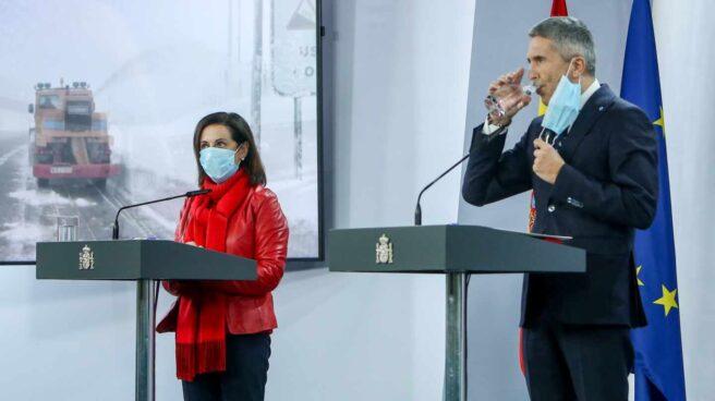 Margarita Robles y Grande-Marlaska, en una reciente rueda de prensa en La Moncloa.