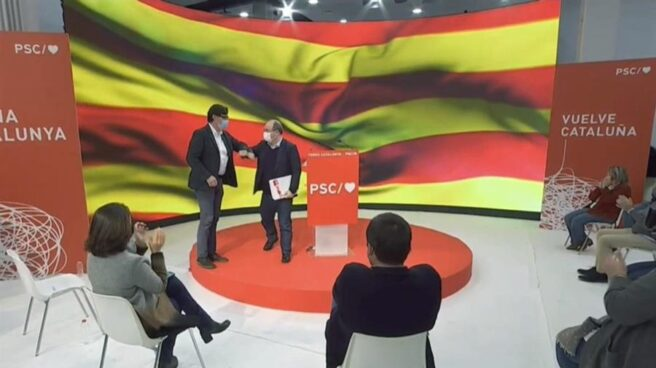 Salvador Illa y Miquel Iceta, durante el mitin del PSC.