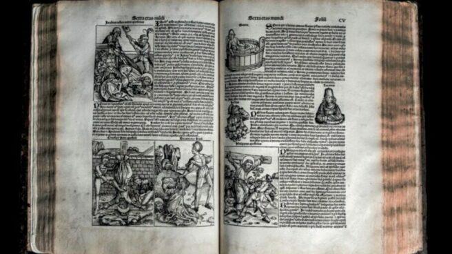 Incunable de 1493 con el primer mapa de Europa y el mundo.
