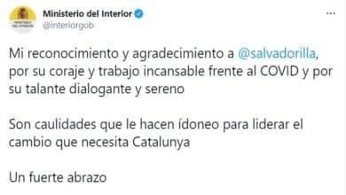 Interior borra un tuit de Marlaska en su cuenta oficial que hacía campaña por Illa en Cataluña