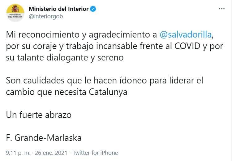 Tuit del ministerio del Interior, posteriormente borrado, en el que Marlaska promocionaba la imagen de Illa en Cataluña.