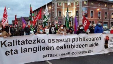 Los sindicatos llaman hoy a la huelga en la sanidad vasca en pleno pico de la tercera ola
