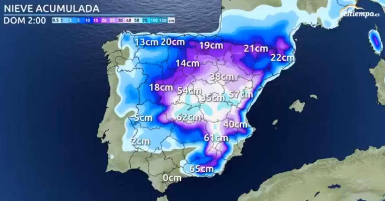 Previsión actualizada de nevadas de eltiempo.es