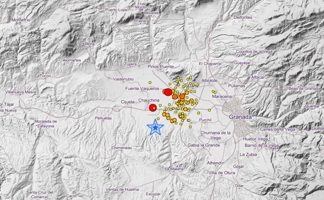 Cadena de terremotos cerca de Granada este martes por la noche.