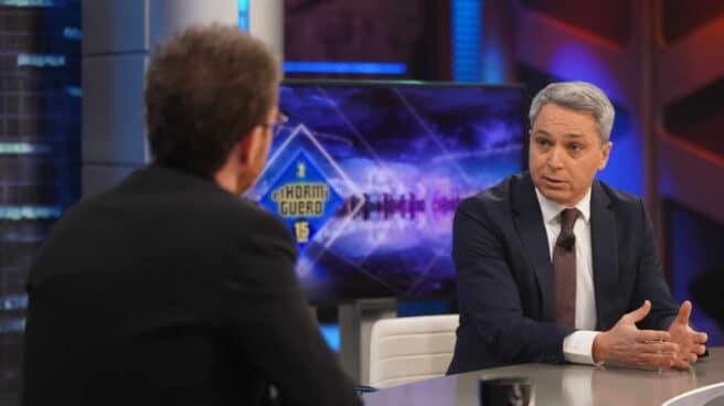 El presentador de los Informativos de Antena 3 Vicente Vallés, en 'El Hormiguero'.
